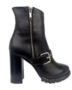 Couture Leather Zip Cq Boots Biker 43 Heel High Ankle Black Nero Stiefel Stivali zddqxH