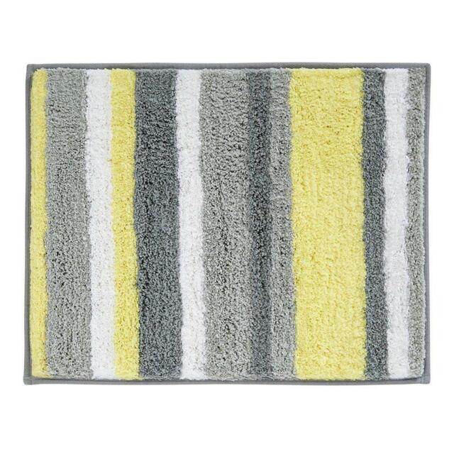 NEW InterDesign Microfiber Bath Rug 34 Inch by 21 Gray Yellow FREE SHIPPING