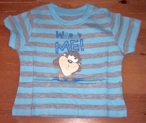 62//68 74//80 86//92 Looney Tunes Baby T-Shirt blau uni oder gestreift Gr