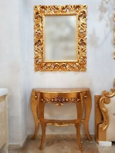 Consolle E Specchio.Dettagli Su Consolle E Specchio Barocco In Legno Foglia Oro Ingresso