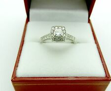 Princess NATURAL DIAMOND Halo Engagement Wedding Promise Ring 14K White Gold