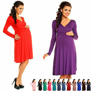 66292984fba4 Zeta Ville - Women's Maternity Stretch Dress Empire Waist - Long ...