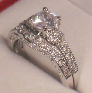 2 Ct Round Antique Diamond Engagement Ring Wedding Set Vintage White