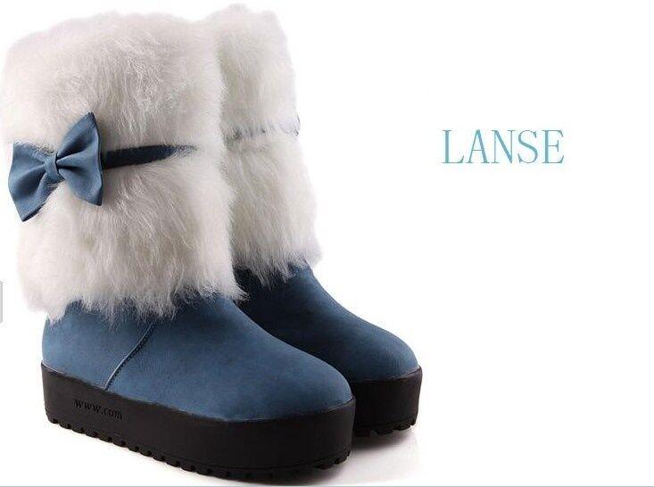botas zapatos de mujer azul lazo talón 3 cm como piel cómodo 9162