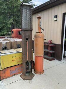 GUARANTEED Original Vintage MILWAUKEE TANK WORKS Visible Gas Pump Station Oil