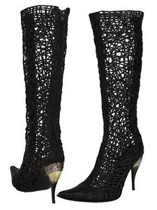 NEW-UNIQUE-GIANNI-BARBATO-FASHION-WESTERN-BRAIDED-LEATHER-CAGE-BLACK-BOOTS-39