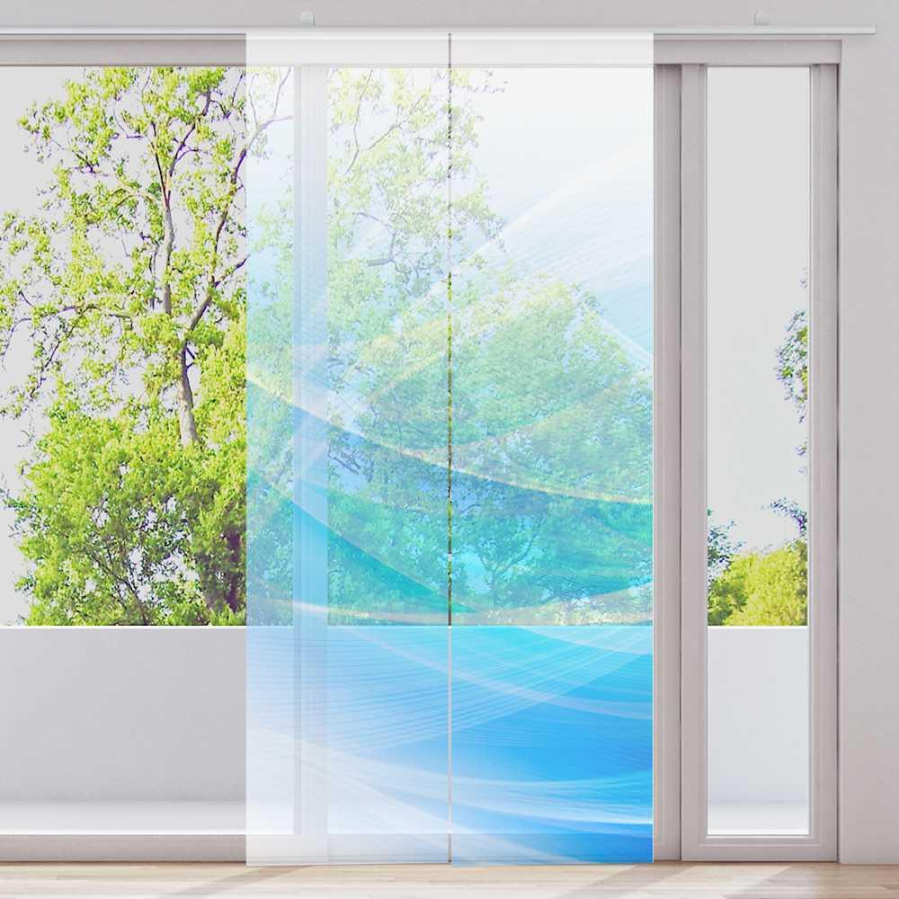 Cortina 2-piezas 2-piezas 2-piezas cuanto 60x245cm transparente motivo