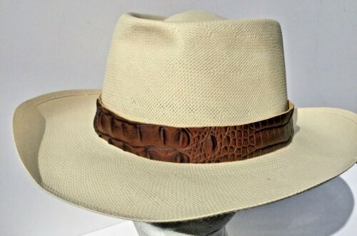 crocodile print  leather hat band fits all hats  for man woman Australian made