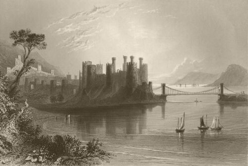 ConwayConwy Castle, with the suspension bridge. Wales. BARTLETT 1842 print