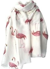 238abcb834ef7 Flamingo Scarf White Pink Flamingos Wrap Ladies Bird Shawl Gift Idea Birds  New