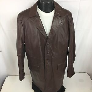 78e3deb6e Details about Vtg 70's Sears Brown Leather CAR Coat 4-BTN Faux Fur Lined  MOD Jacket 44 X-Tall