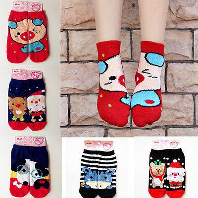 Women Girls Cotton Winter Warm Cartoon Coral Christmas Santa Mid Ankle Socks