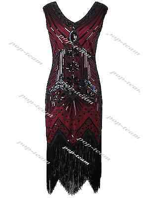 1920s Flapper Dress Costume Gatsby Charleston Sequin Beads Fringe 20s Dress 8 16