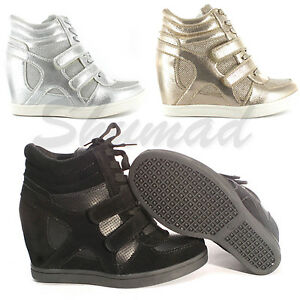 New Ladies Womens Black//Khaki Ankle Wedge Trainers
