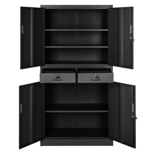 Armoire de rangement metallique 2 tiroirs 4 portes meuble de bureau 180x90x40cm