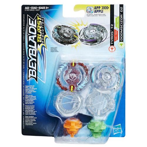 Dual Pack Beyblade Burst Evolution Booster Spinning Top Tyros T2 /& Doomscizor D2