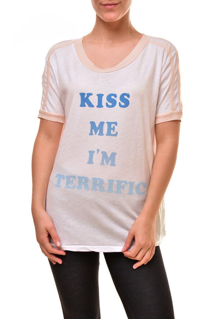 Wildfox Damen Neue WVG27669W Baumwolle bequemes T-Shirt Weiß XS UVP  BCF811