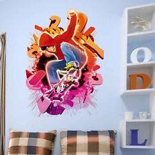 Cool Home Wall Decor 3D Skateboard Wall Stick Vinyl Art Mural Decal Bedroom