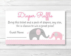 image relating to Printable Diaper titled Info over Red Chevron Elephant Printable Kid Shower Diaper Raffle Tickets