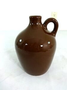 EARLY-20TH-CENTURY-LITTLE-BROWN-POTTERY-JUG-9-034-TALL-7-034-DIAMETER