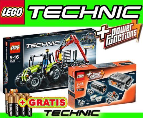 LEGO TECHNIC 8049 Traktor Forstkran + Power Funct. 8293 Motor Licht Batteriebox