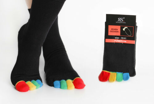 10 Pair Toe Socks Black Colorful Toes