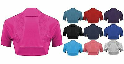 Women Beaded Shrug Bolero Ladies Embellished Crop Top Short Sleeve Open Cardigan
