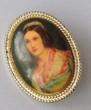 broche vintage petite taille couleur or camée couleur buste femme 400