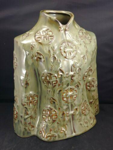Mandarin Asian Chinese Jacket Vase Ceramic Jade Green Home Decor Unique Art Mint