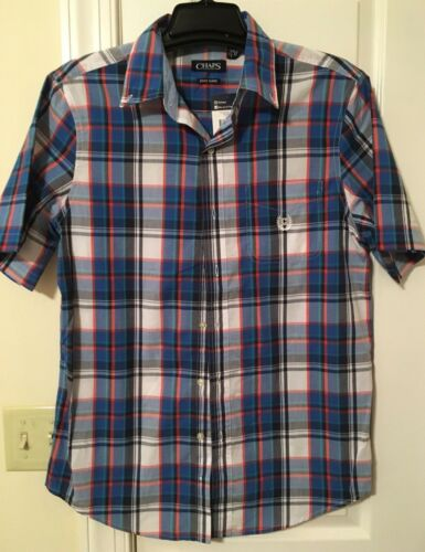 M /& L  Blue NWT CHAPS Men/'s Button Front Short Sleeve Shirt  Easy Care SIZES