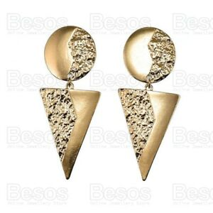 LARGE-7cm-long-STATEMENT-EARRINGS-triangle-circle-geometric-textured-gold-tone
