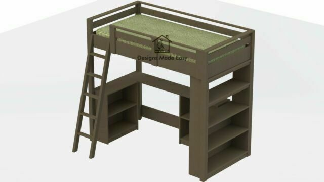 Twin Loft Bed With Desk And Bookcase, Loft Bed With Desk Plans