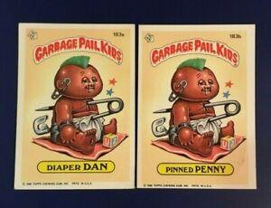1986-Topps-183a-DIAPER-DAN-183b-PINNED-PENNY-GPK-Lot-2-Garbage-Pail-Kids