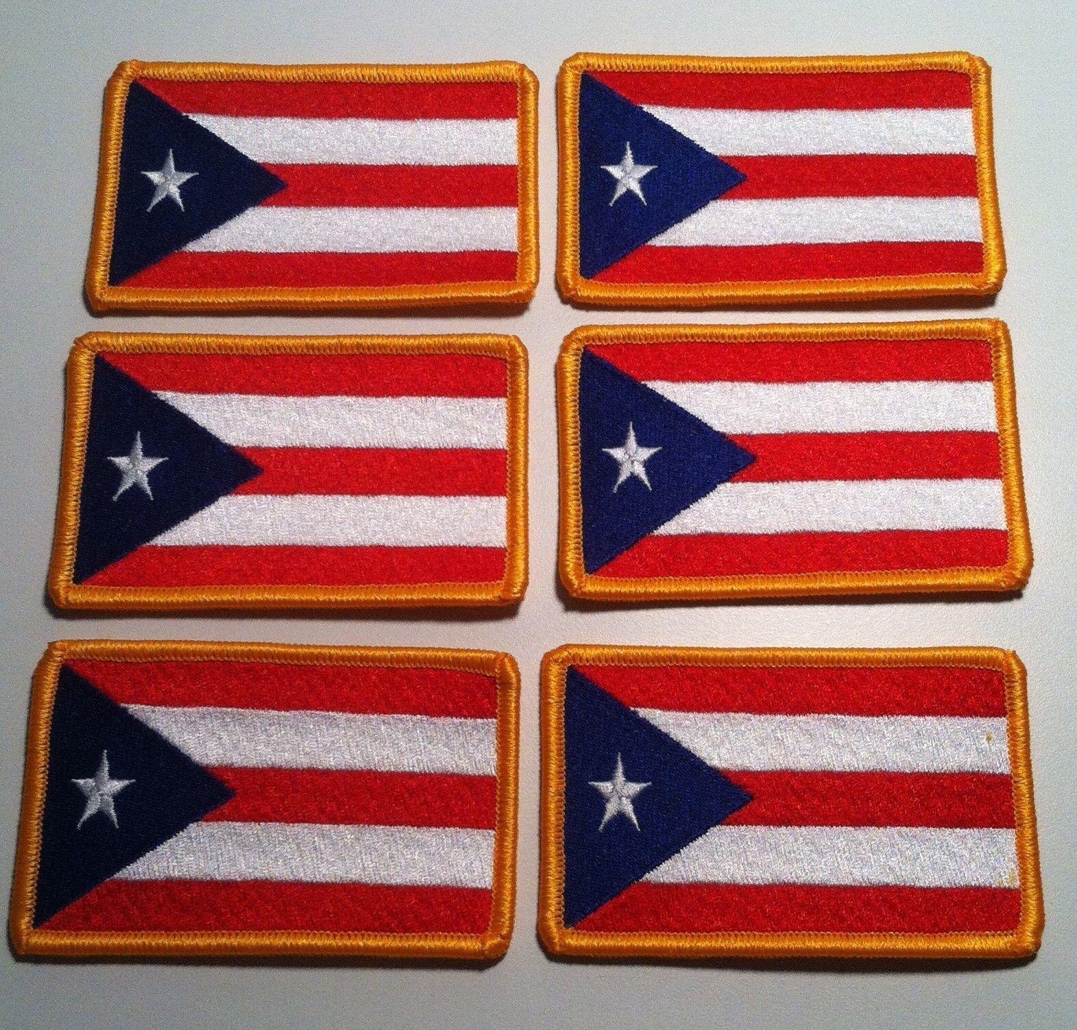 Bandera de Puerto Rico Emblema Puertorrique/ño Parche Bordado de Aplicaci/ón con Plancha