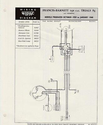 WIPAC WIRING DIAGRAM - FRANCIS-BARNETT 250cc TRIALS 85 | eBay
