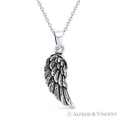 Eagle Wing Antique-Finish 925 Sterling Silver Charm Pendant /& Necklace Angel/'s