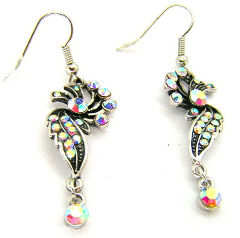 New Antique Silver Tone Ab Crystal Swirl Drop Earrings Wedding Prom