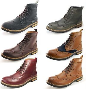 Frank-James-Hackney-Quality-Cleated-Real-Leather-Lace-Up-Brogue-Mens-Boots
