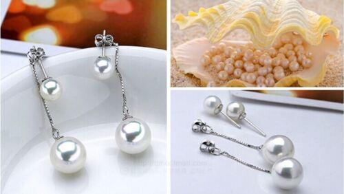 Pearl Drop Earrings 925 Sterling Silver heart love gift MOM valentine birthday54