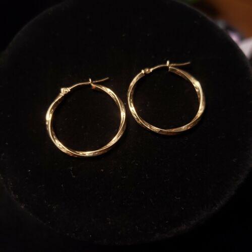 10k 10kt Yellow Gold Hoop Twist Earrings