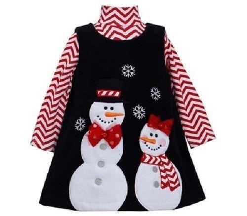Bonnie Jean Girls Snow People Christmas Holiday Fleece Jumper Dress 9M 12M 2T 4T