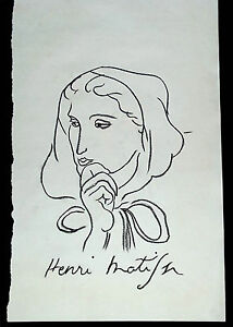 Henri-Matisse-rough-charcoil-study-039-Woman-with-a-hood-039-Signed-original-COA