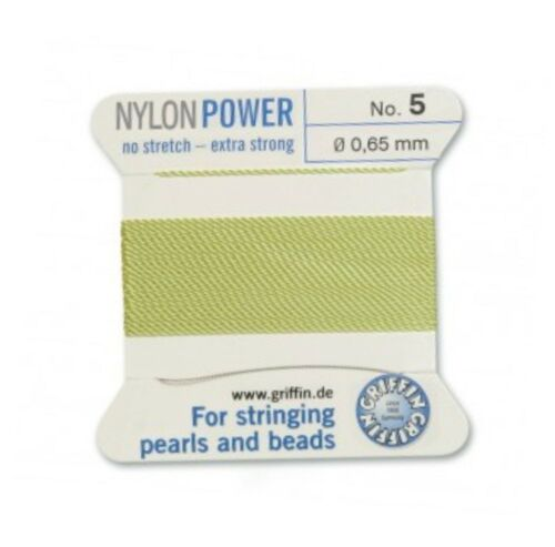 Jade Verde Nylon Potencia sedoso Hilo 0.65 Mm Encordar Perlas Y Cuentas Griffin 5