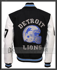 Beverly Hills Cop Detroit Lions Vintage Mens Varsity Jacket with Leather Sleeves