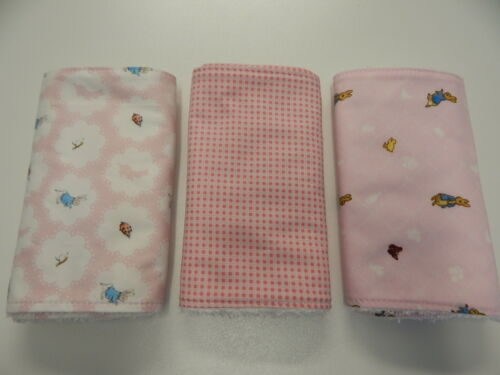 Peter Rabbit Pink Burp Cloths x 3 Toweling Backed GREAT GIFT
