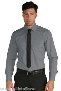 Camicia Uomo Extra SLIM FIT Stretch Grigia Aderente Elasticizzata  XXL Collo 44