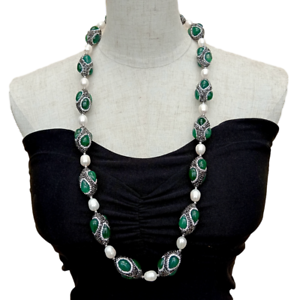 """32""""Green Agate Black Rhinestone Cultured White Rice Pearl  Pave long Necklace"""