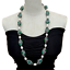 """thumbnail 1 - 32""""Green Agate Black Rhinestone Cultured White Rice Pearl  Pave long Necklace"""