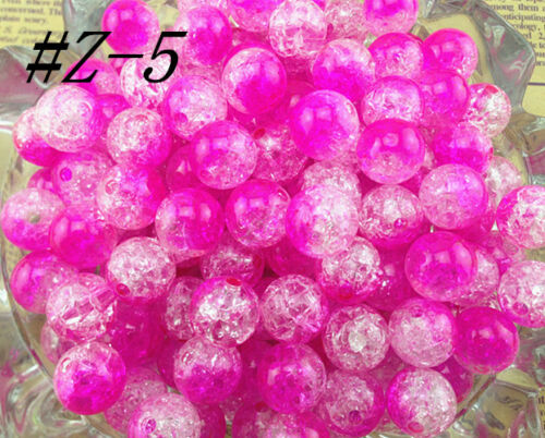 HOT!!10//50//100pcs 12mm Chunky Crack Beads Jewelry Pendant Bubblegum Necklace