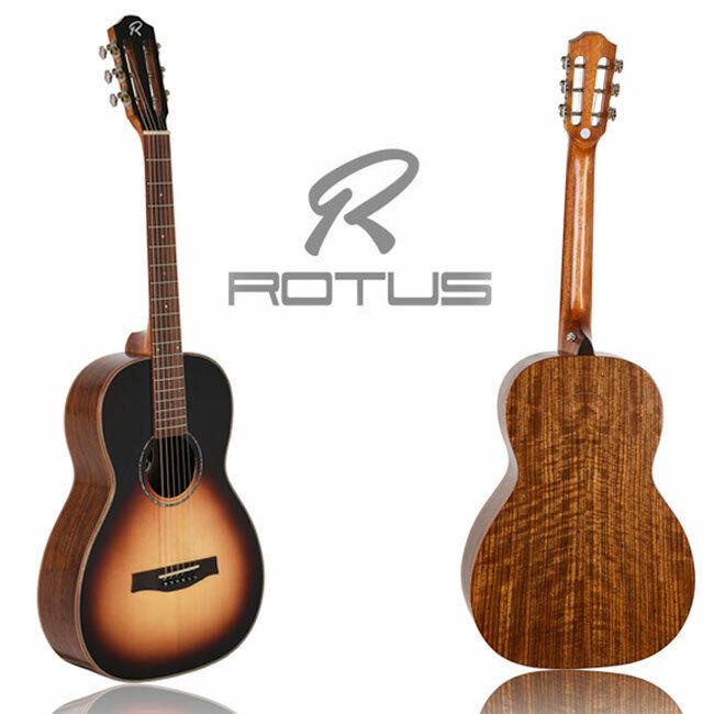 ROTUS PA-350 Sunburst Solid Top Walnut Parlor Body Acoustic Guitar Portable